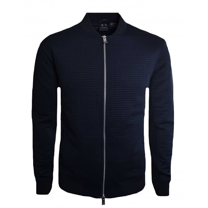 Armani Exchange Armani Exhchange Mens Navy Textured Jaquard Bomber Jacket