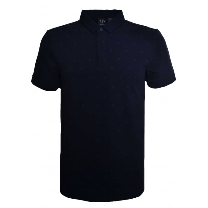 Armani Exchange Men's Navy Blue Scattered Logo Polo Shirt