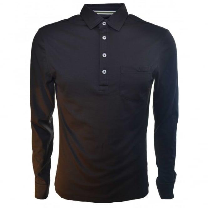 Armani jeans men 39 s slim fit dark green long sleeve polo shirt for Dark green mens polo shirt