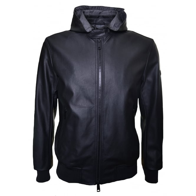Armani Jeans Men's Black Eco Leather Bomber Jacket