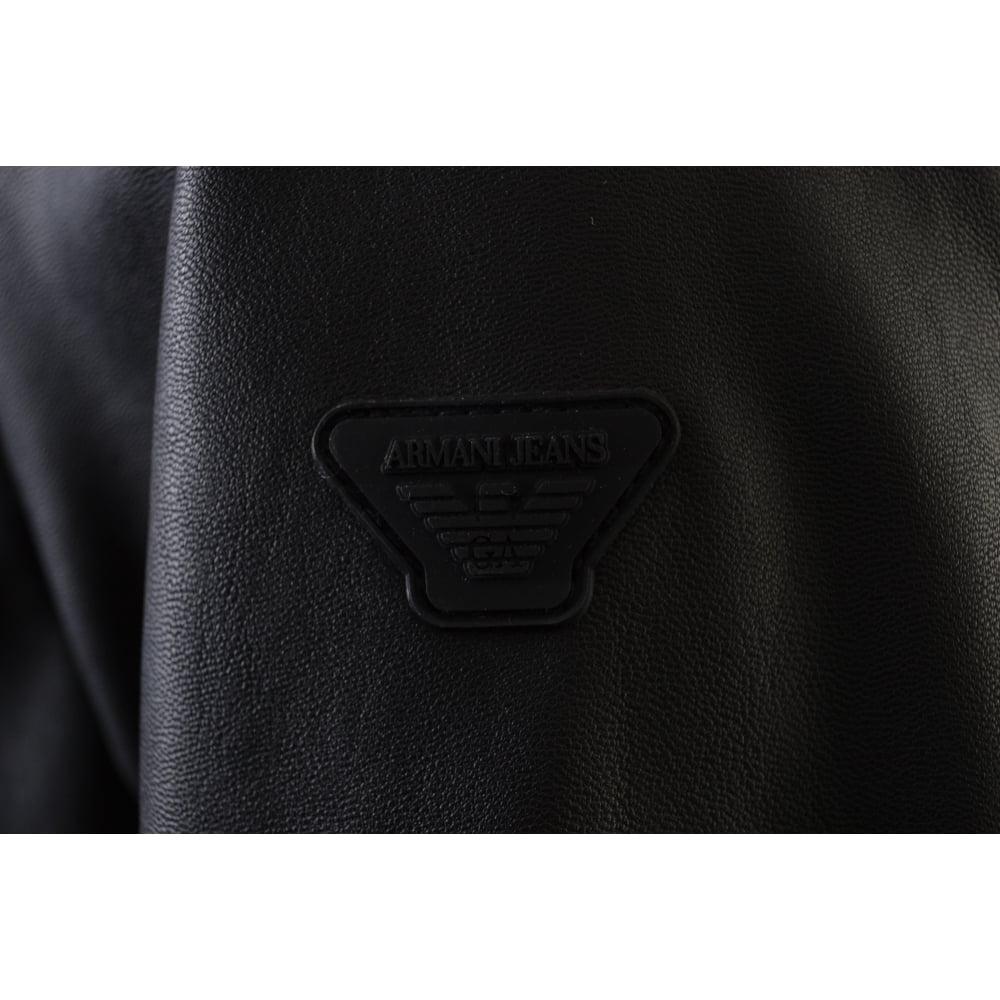 69547256 Armani Jeans Armani Jeans Men's Black Eco Leather Bomber Jacket