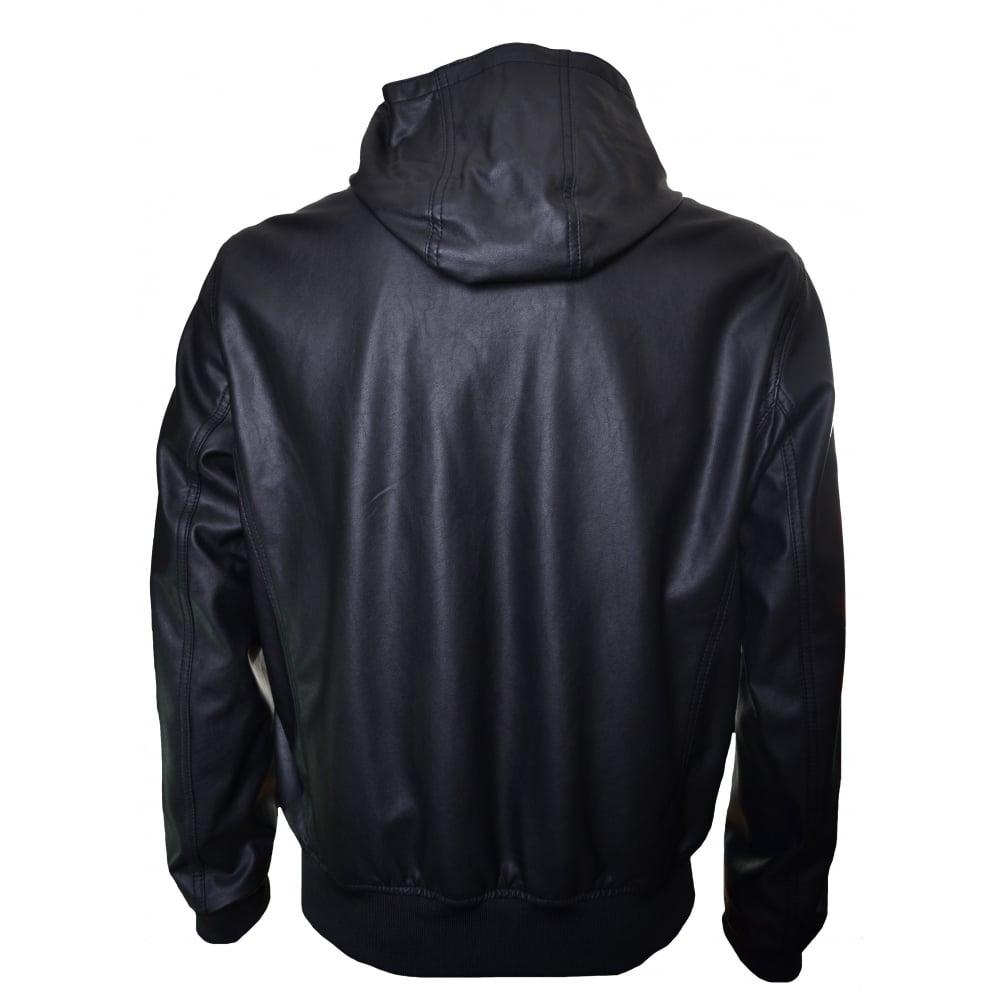 Mens Hooded Leather Bomber Jacket Varsity Apparel Jackets