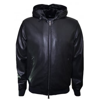 Armani Jeans Men's Black Eco Leather Jacket