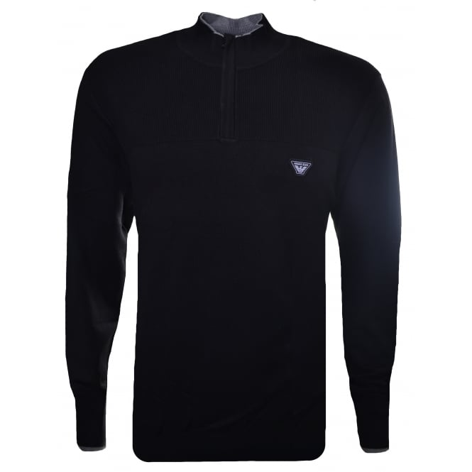 Armani Jeans Men's Black Half Zip Jumper