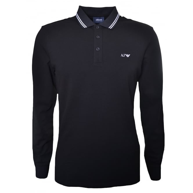Armani Jeans Men's Black Long Sleeved Polo Shirt
