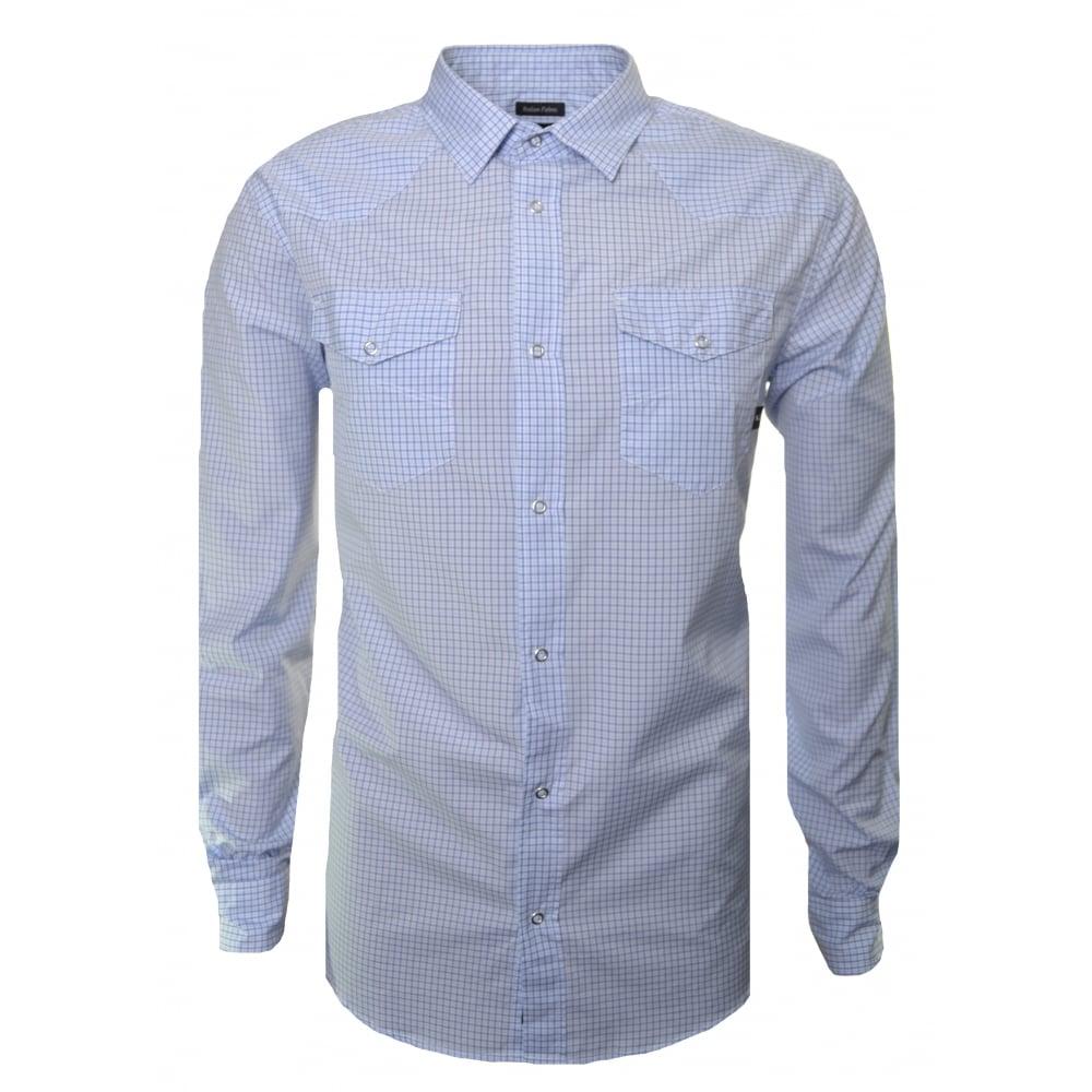 29120ba20a armani jeans men's blue check long sleeve shirt