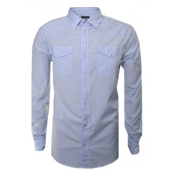 Armani Jeans Men's Blue Check Long Sleeve Shirt