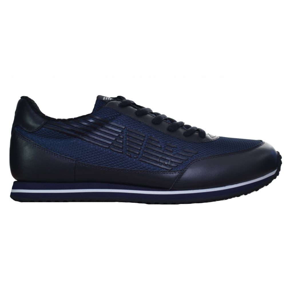 3327517d79a2 Armani Jeans Men  039 s Blue Leather Trainer