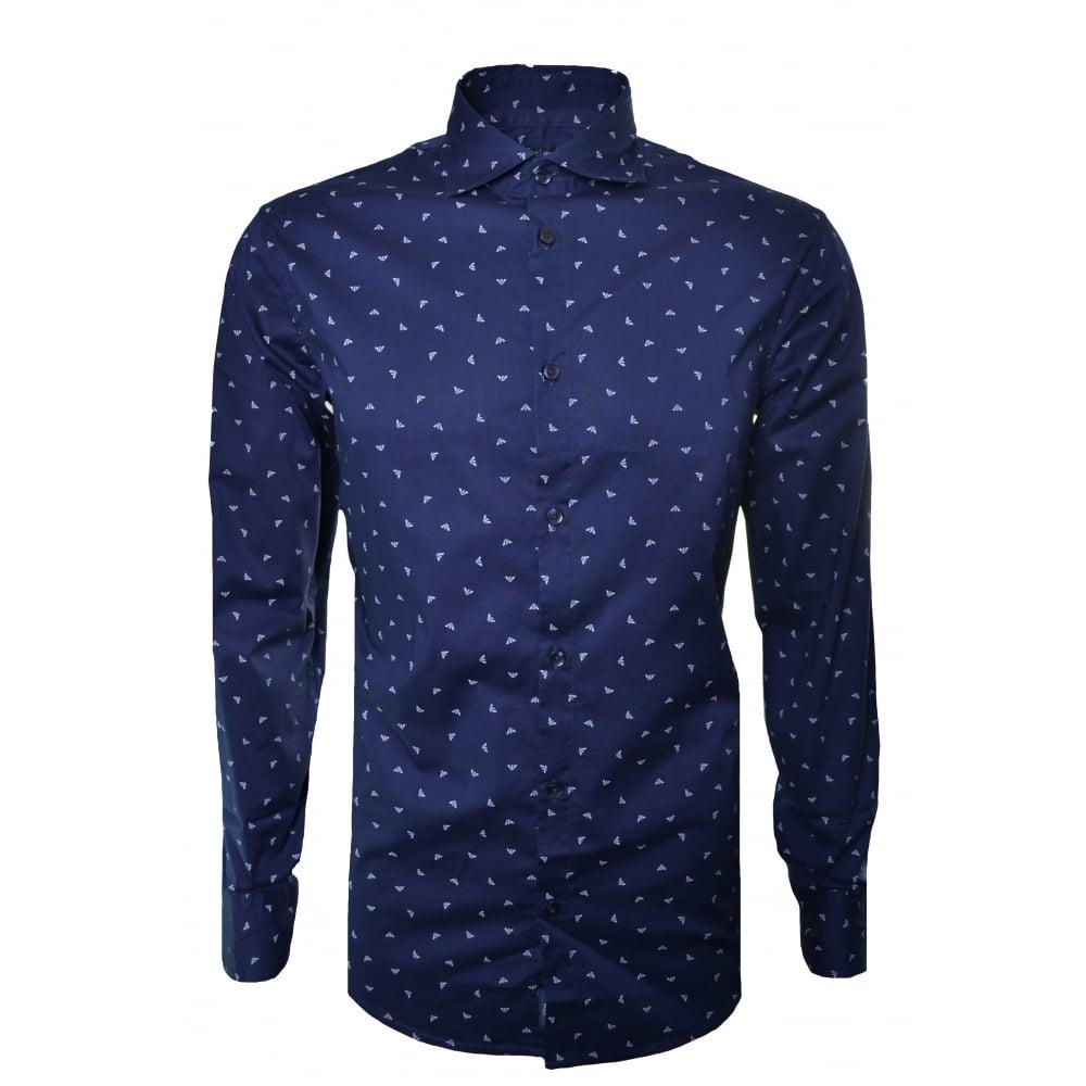 12bf5db0c6 Armani Jeans Men's Blue Scattered Eagle Logo Shirt