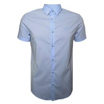 Armani Jeans Men's Blue Short Sleeve Shirt