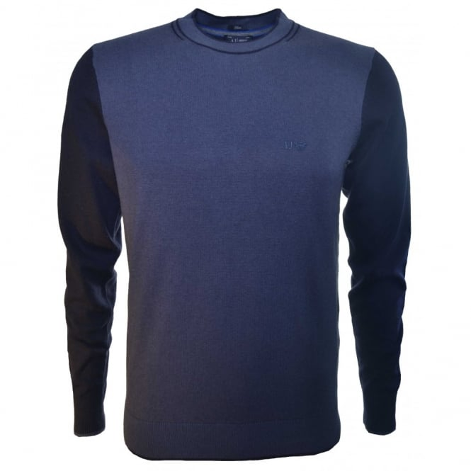 Armani Jeans Men's Blue Two Tone Slim Fit Knit