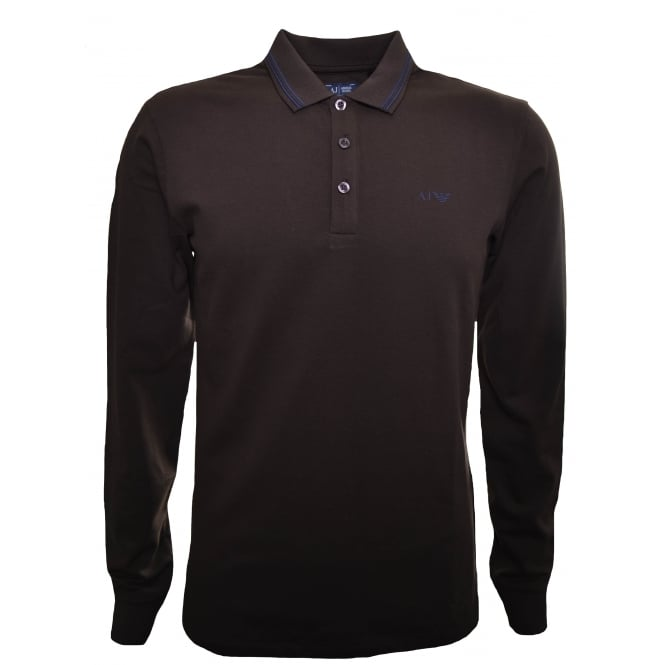 Armani Jeans Men's Brown Long Sleeved Polo Shirt