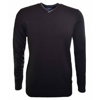 Armani Jeans Men's Brown V-Neck Jumper