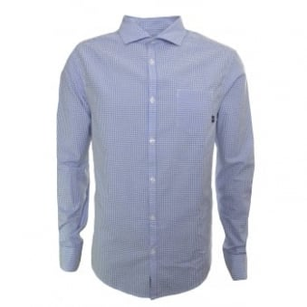 Armani Jeans Men's Custom Fit Blue Check Long Sleeve Shirt