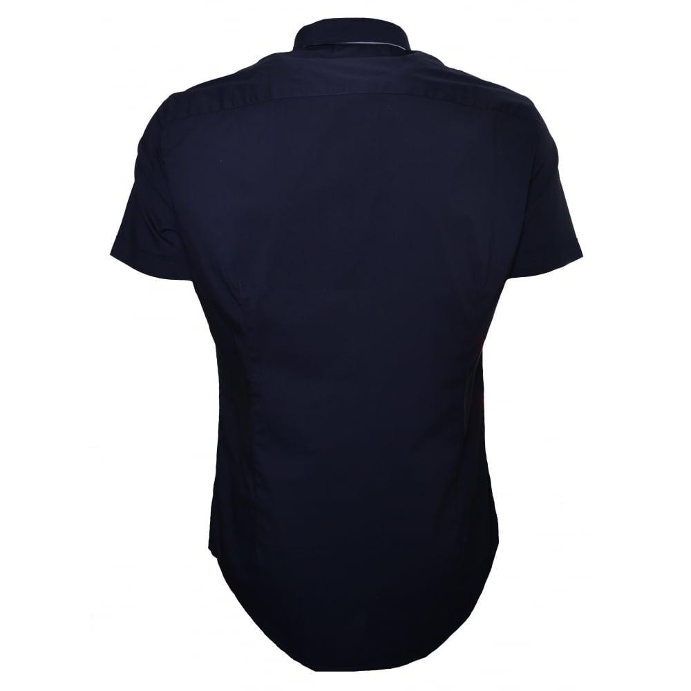 armani jeans mens dark navy short sleeve shirt