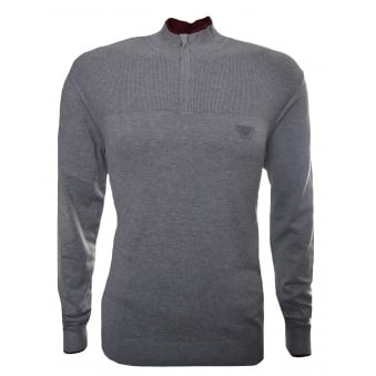 Armani Jeans Men's Grey Half Zip Jumper