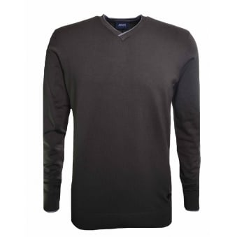 Armani Jeans Men's Khaki Green V-Neck Jumper
