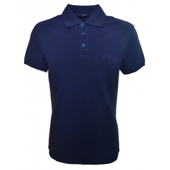 Armani Jeans Men's Muscle Fit Navy Blue Polo Shirt