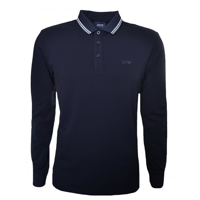 Armani Jeans Men's Navy Blue Long Sleeved Polo Shirt
