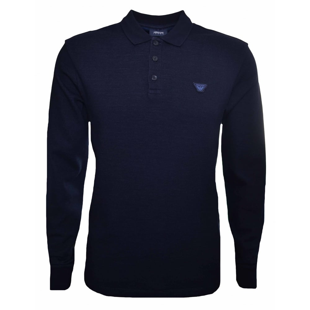 dd0a0310 Armani Jeans Men's Navy Blue Long Sleeved Polo Shirt