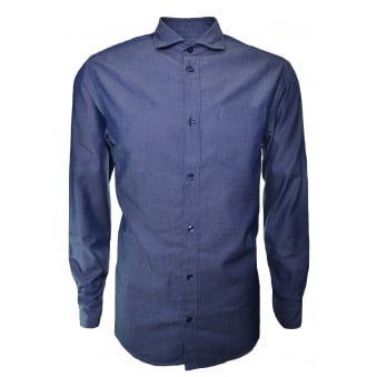 Armani Jeans Men's Navy Blue Pinstripe Long Sleeve Shirt