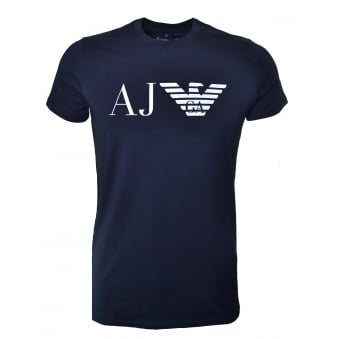 Armani Jeans Men's Navy Blue Printed T-Shirt