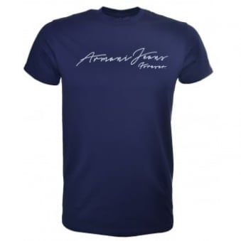 Armani Jeans Men's Navy Blue T-Shirt