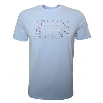 Armani Jeans Men's Pale Blue Crew Neck T-Shirt