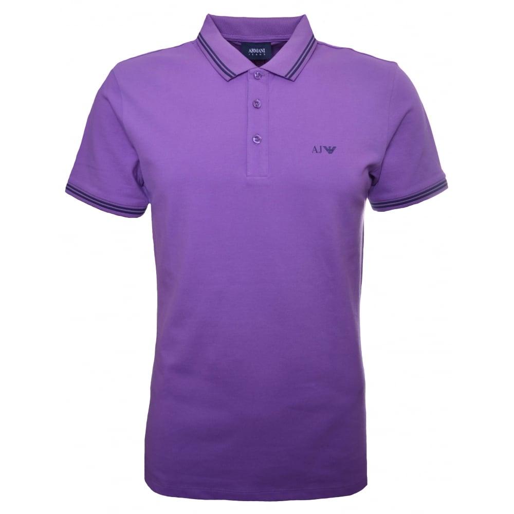 armani jeans mens purple polo shirt