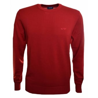 Armani Jeans Men's Red Wool Jumper