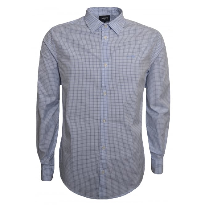 Armani Jeans Men's Slim Fit Blue Long Sleeved Check Shirt
