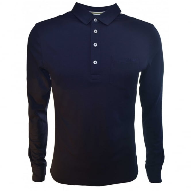 f7588a27 Armani Jeans Armani Jeans Men's Slim Fit Navy Blue Long Sleeve Polo Shirt