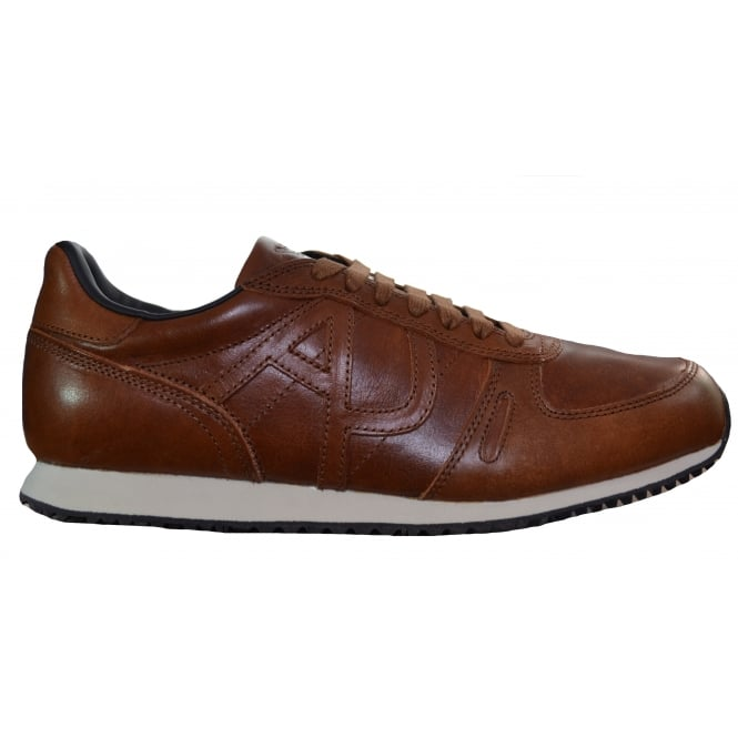 Armani Jeans Men's Tan Leather Trainers