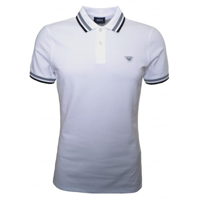 armani jeans mens white polo shirt