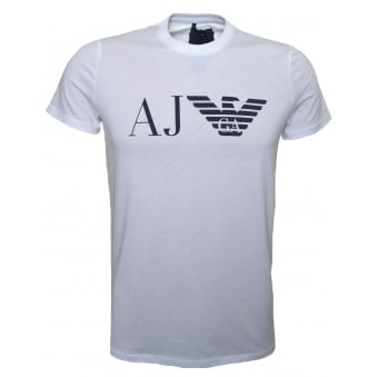 Armani Jeans Men's White Printed T-Shirt