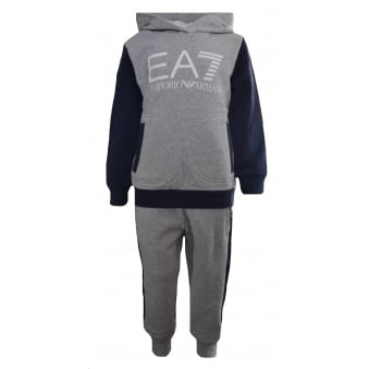 EA7 Kids Grey And Navy Tracksuit