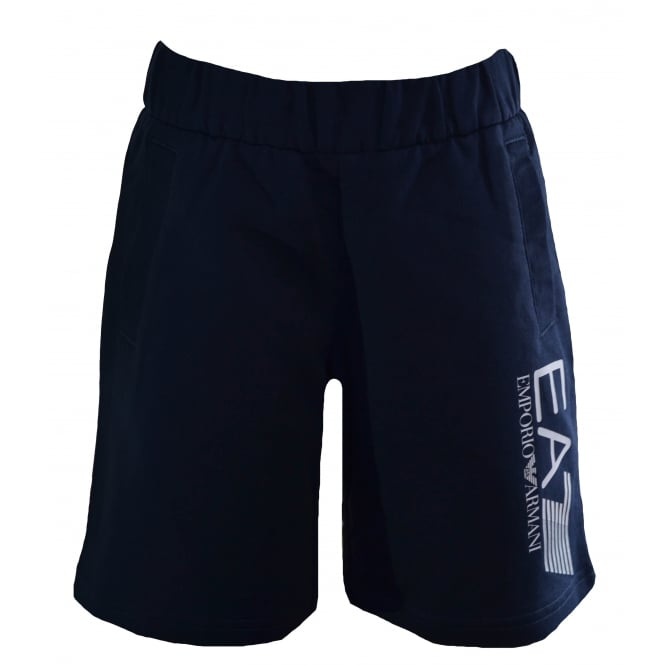EA7 Kids Navy Blue Cotton Shorts