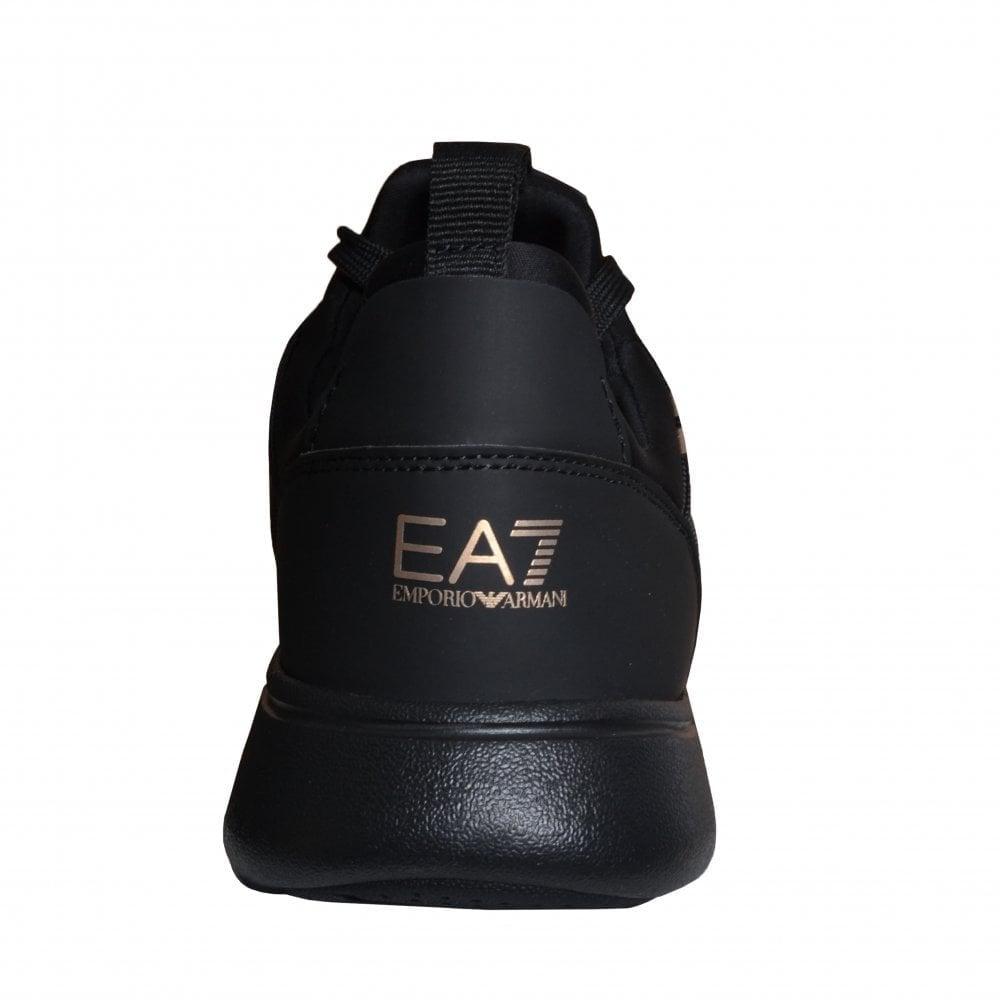 ea7 men's black/gold trainers