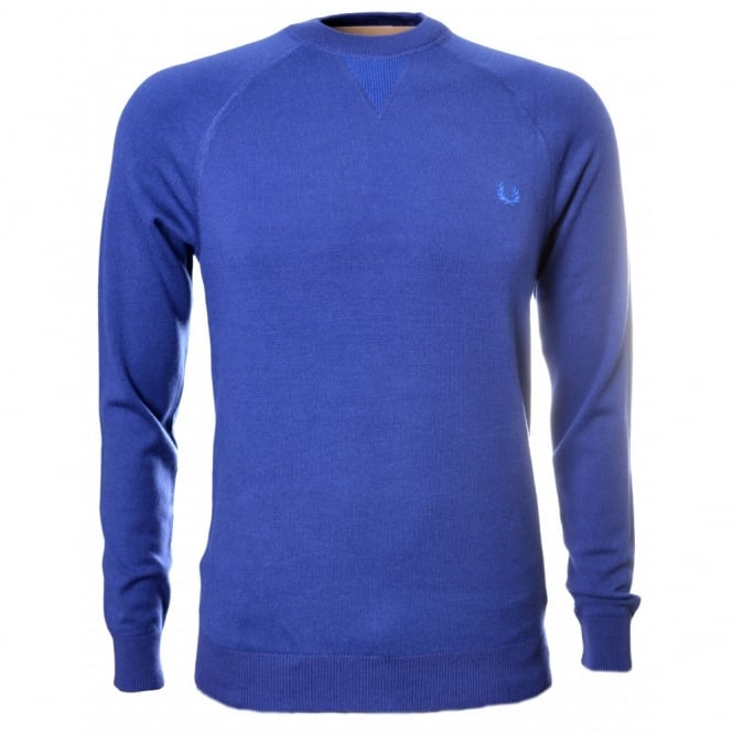 Fred Perry Blue Fine Knit Crew Neck Jumper