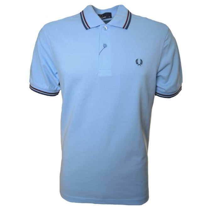 Fred Perry Men's Sky Blue Twin Tipped Polo Shirt