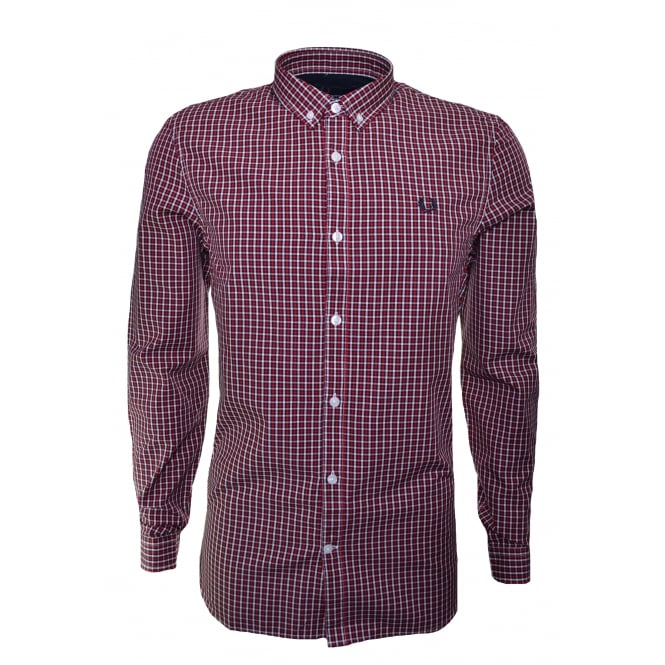 Fred Perry Men's Basketweave England Red Long Sleeve Shirt