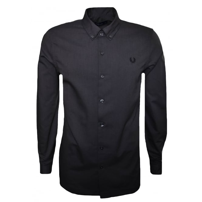 Fred Perry Men's Black Brushed Cotton Long Sleeved Shirt