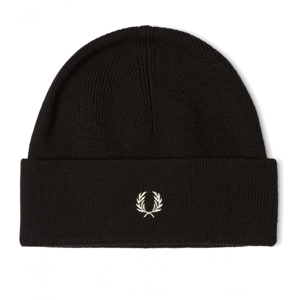 Fred Perry Men  039 s Black Merino Wool Hat afc4c6bc805