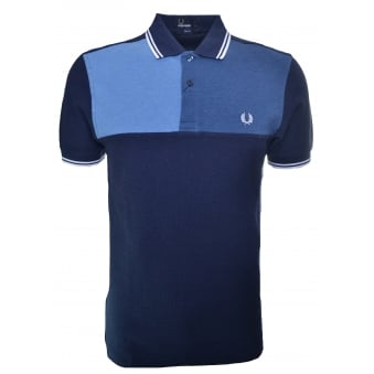 Fred Perry Men's Blue Chest Panel Slim Fit Polo Shirt