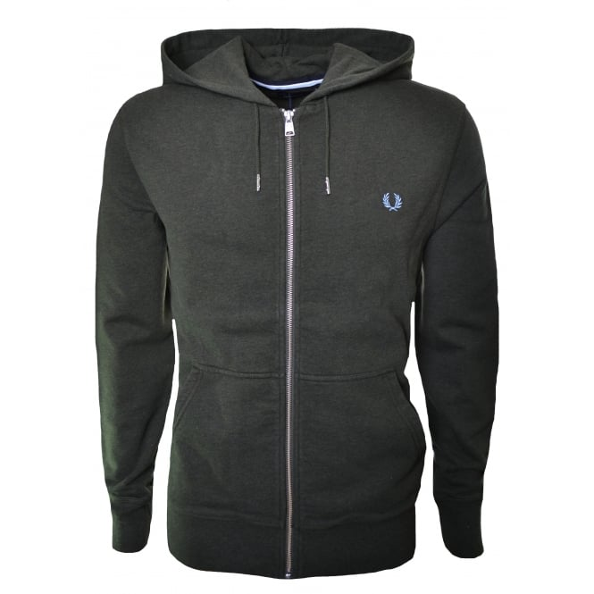 Fred Perry Mens Brg Green Marl Loopback Hooded Sweatshirt