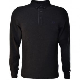 Fred Perry Mens Charcoal Marl Gingham Long Sleeve Slim Fit Polo Shirt