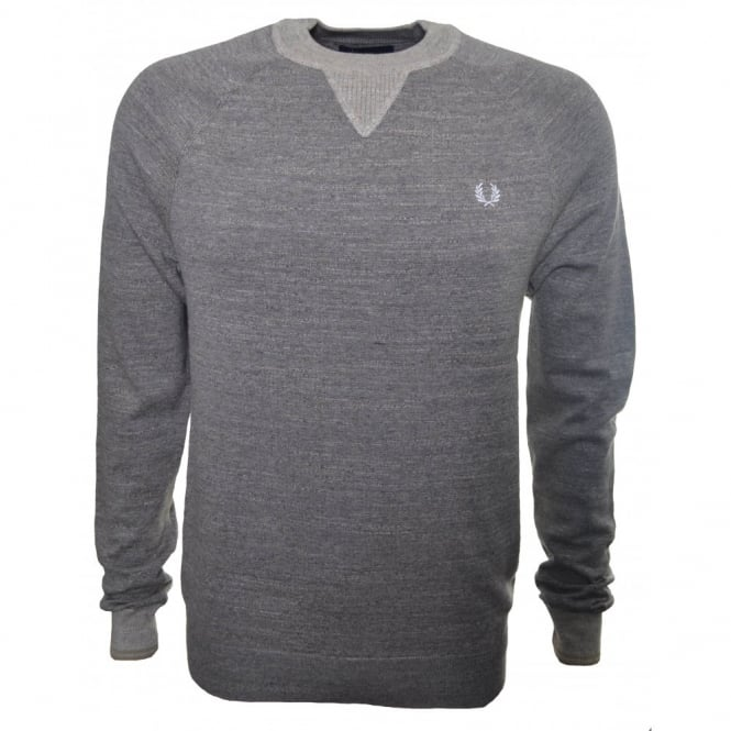 Fred Perry Mens Chestnut Marl Budding Yarn Tipped Sweatshirt