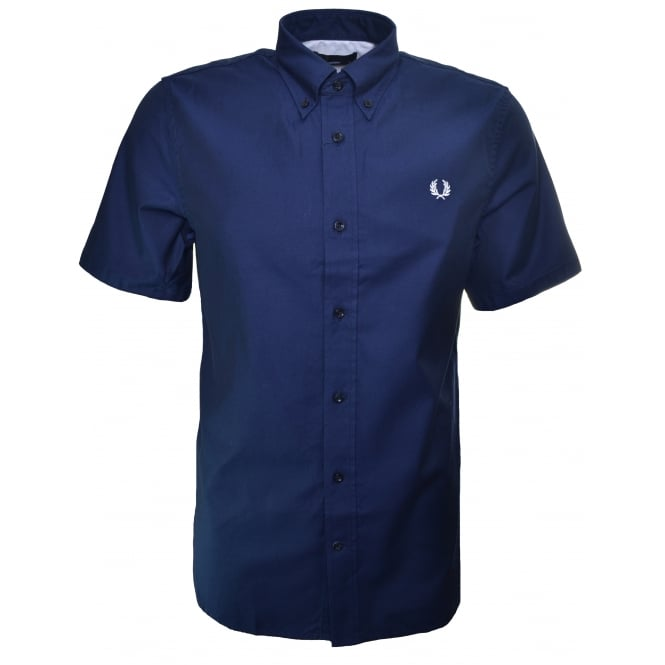 Fred Perry Men's Classic Navy Blue Short Sleeve Twill Shirt