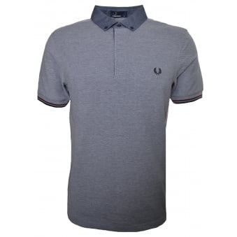 Fred Perry Men's Dark Carbon Woven Collar Pique Polo Shirt