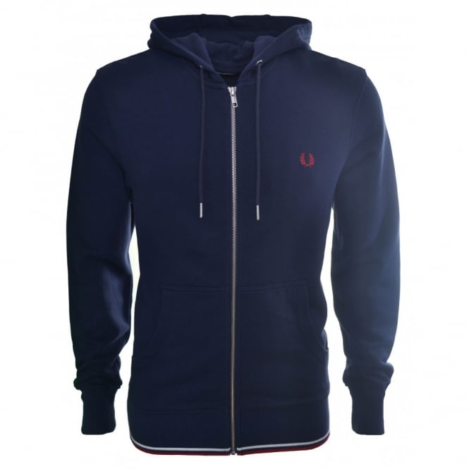 Fred Perry Men's Dark Carbon Zip Through Hooded Sweat